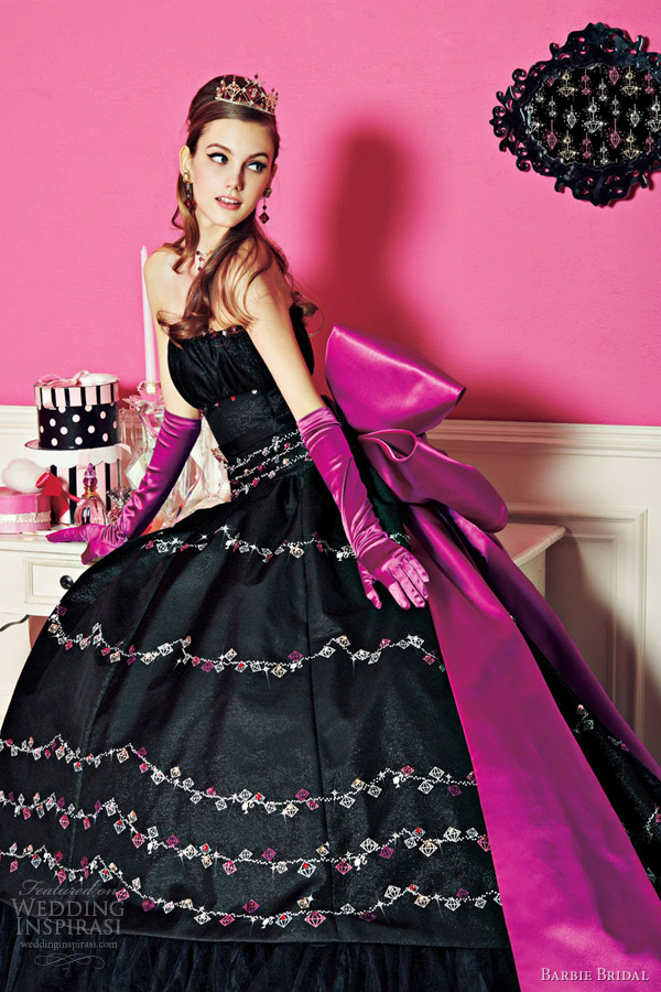 barbie bridal princess wedding dress black purple