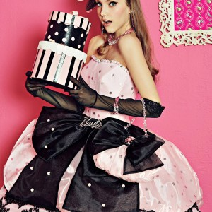 barbie pink wedding dress black lace