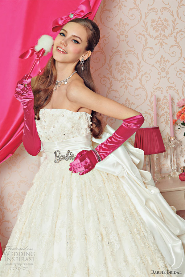 barbie wedding dresses 2012 off white strapless ball gown