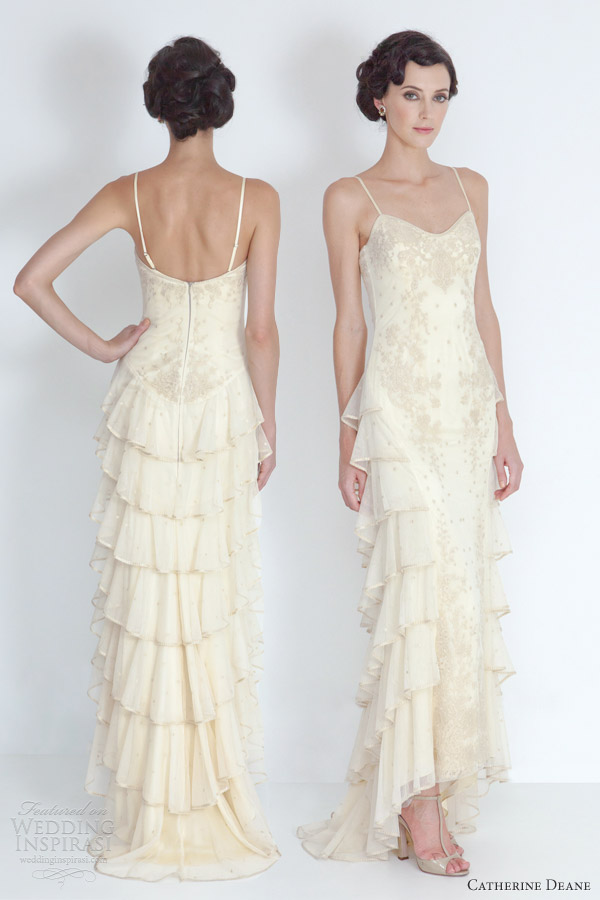 catherine deane 2012 bridal caitlin tiered wedding dress antique