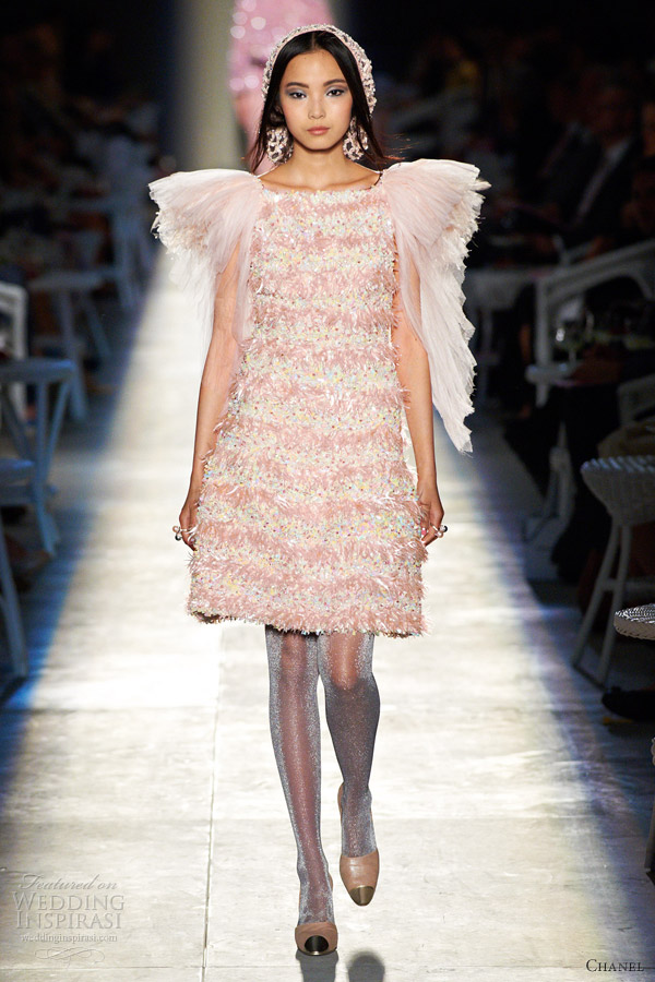 chanel fall 2012 couture pink dress flutter sleeves
