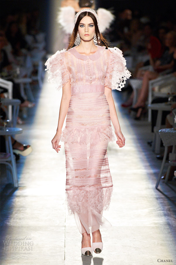 chanel fall 2012 couture pink dress laser cut flowers