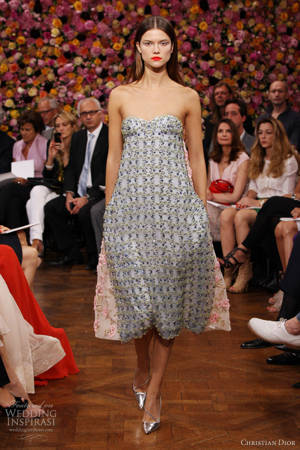 christian dior couture fall 2012 2013 blue pink floral embroidered dress