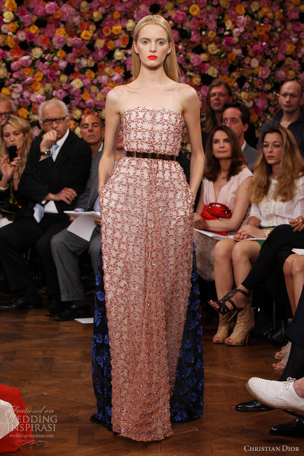 christian dior couture fall winter 2012 2013 strapless floral embroidered dress