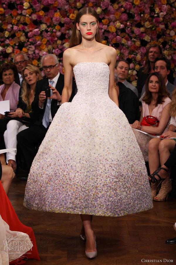 christian dior fall 2012 2013 couture strapless pointillist degrade dress