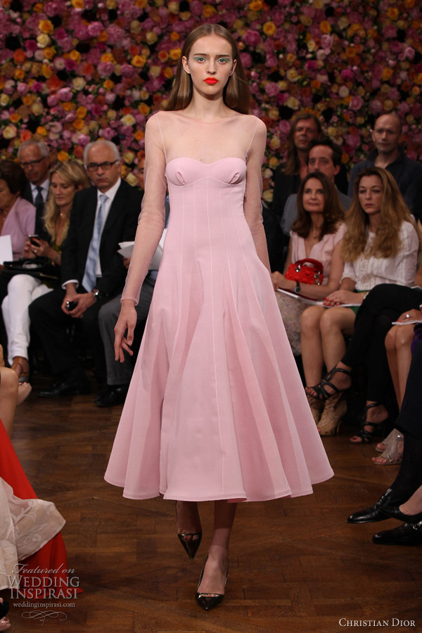 christian dior fall 2012 couture pink dress illusion long sleeves
