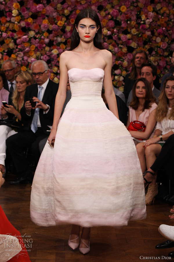 christian dior fall 2012 couture strapless degrade pink dress