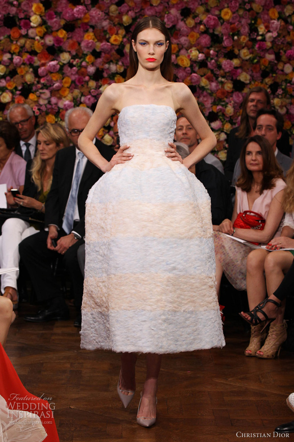 christian dior fall 2012 couture strapless dress pale blue pink feathers