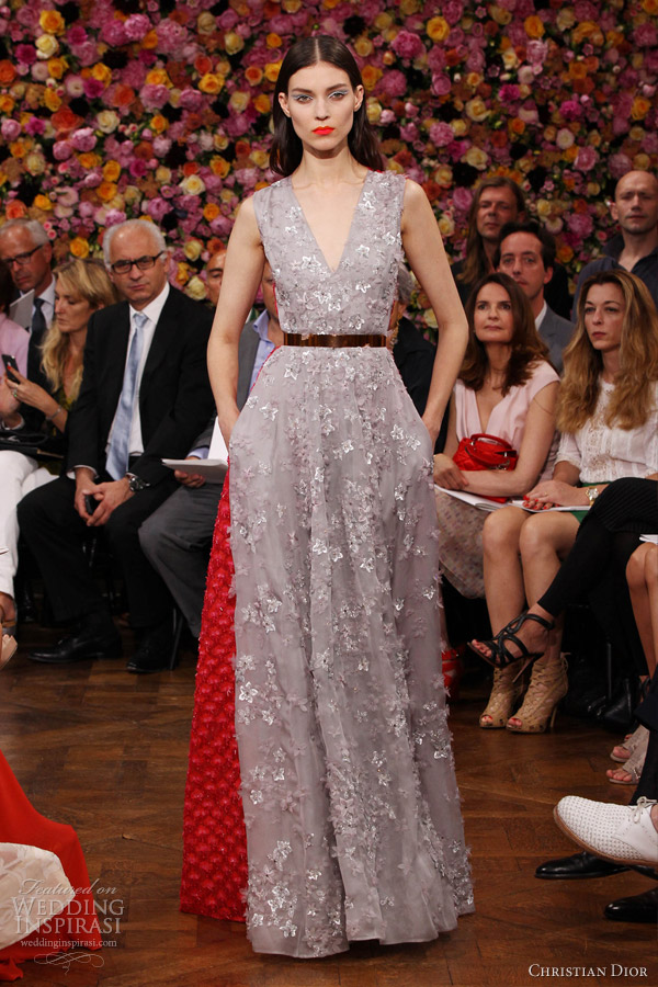 christian dior fall winter 2012 2013 couture grey red sleeveless dress