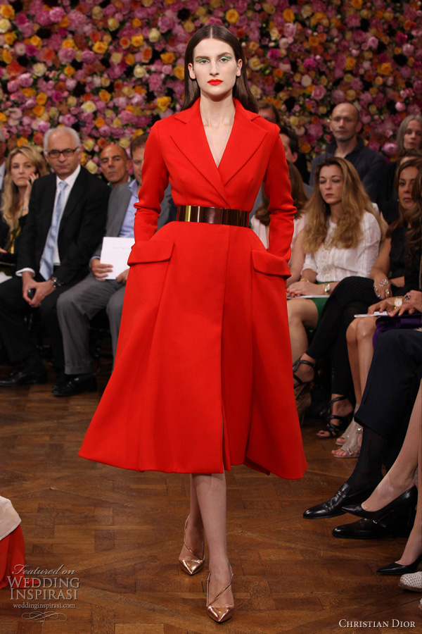 dior fall 2012 couture red coat dress