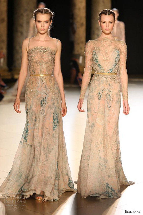elie saab couture fall 2012 beige gold dresses