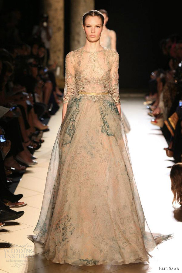 elie saab couture fall 2012 beige gold sleeve dress