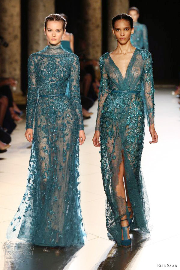 elie saab fall 2012 2013 couture long sleeve dress blue green teal