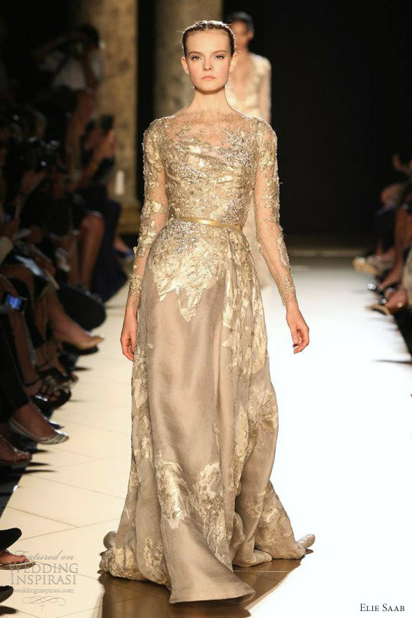 elie saab fall 2012 couture beige gold leaf long sleeve dress