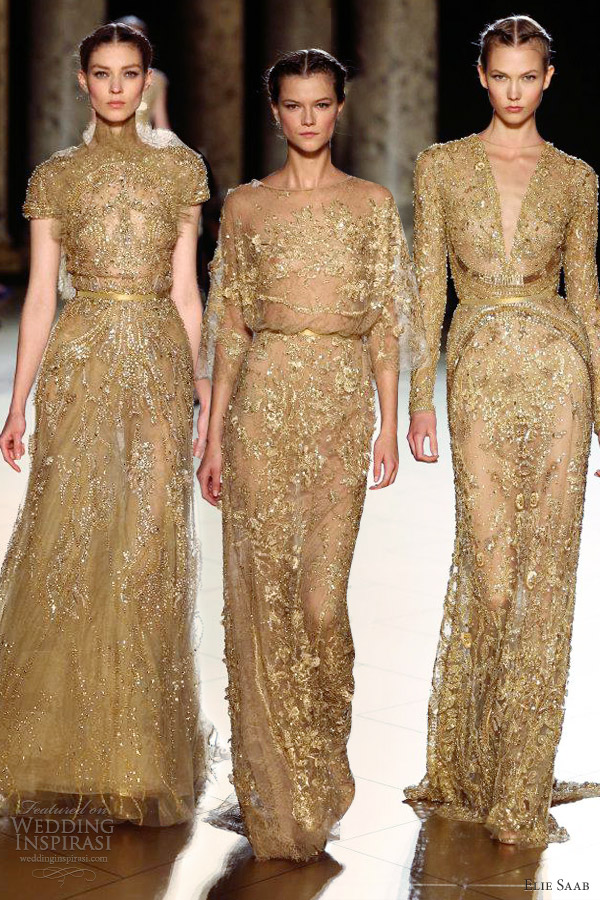 elie saab fall 2012 couture belted gold sheath dresses sleeves