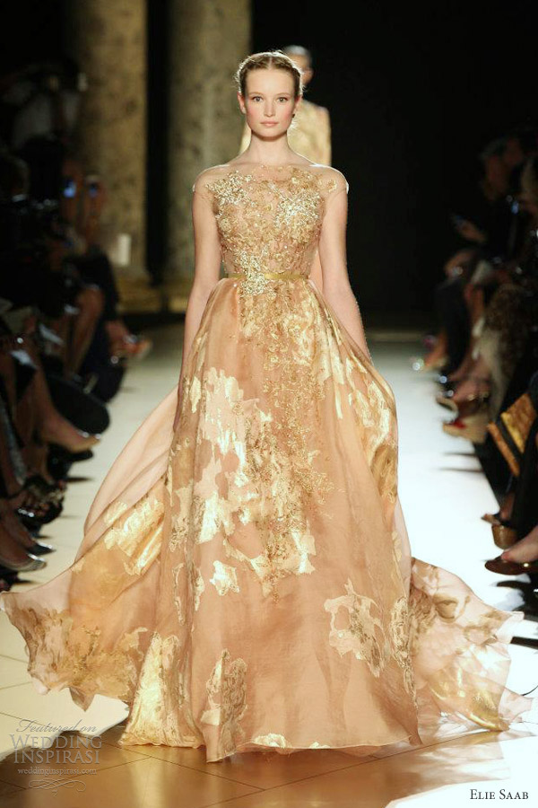 elie saab fall 2012 couture illusion cap sleeve gown gilded gold