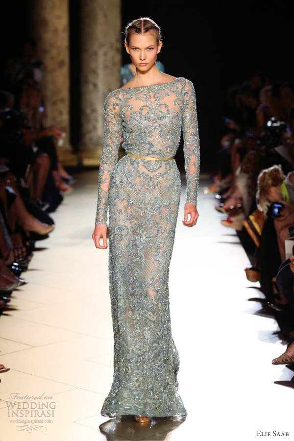 elie saab fall winter 2012 2013 couture long sleeve sheath gown