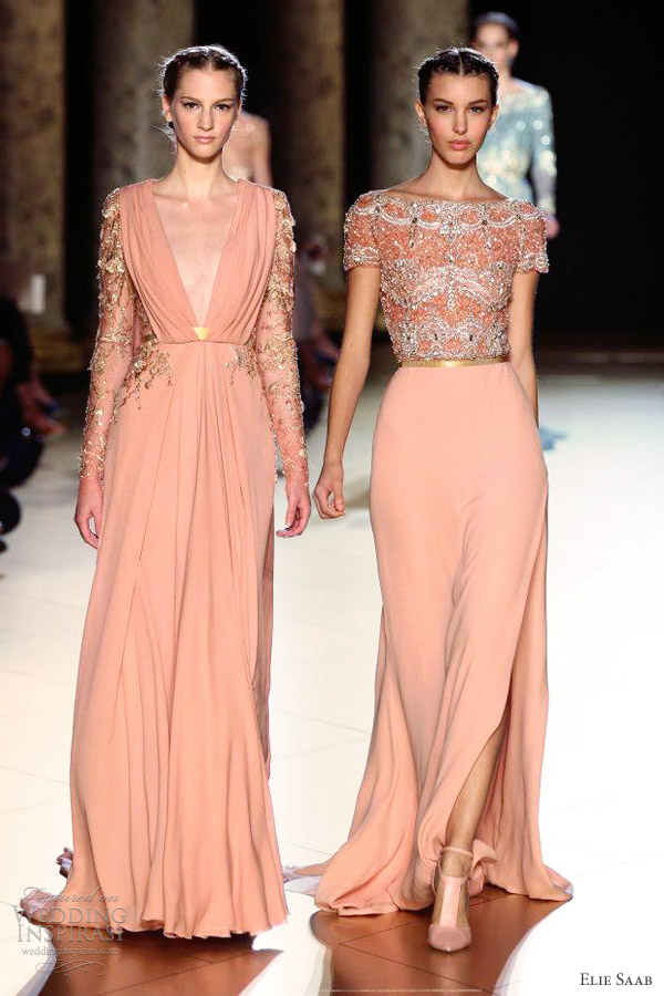 elie saab fall winter 2012 2013 couture pink gown beaded top long sleeves