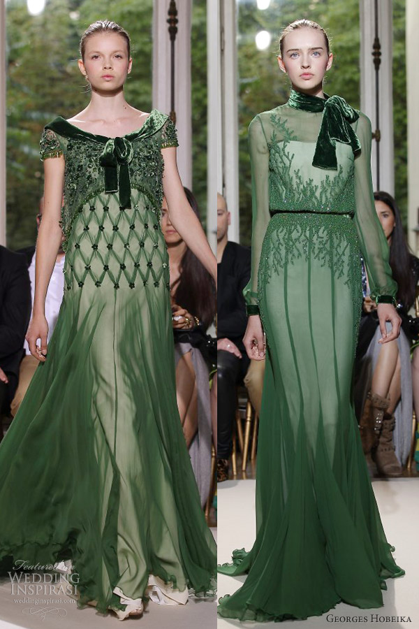 georges hobeika couture fall 2012 green gowns sleeves