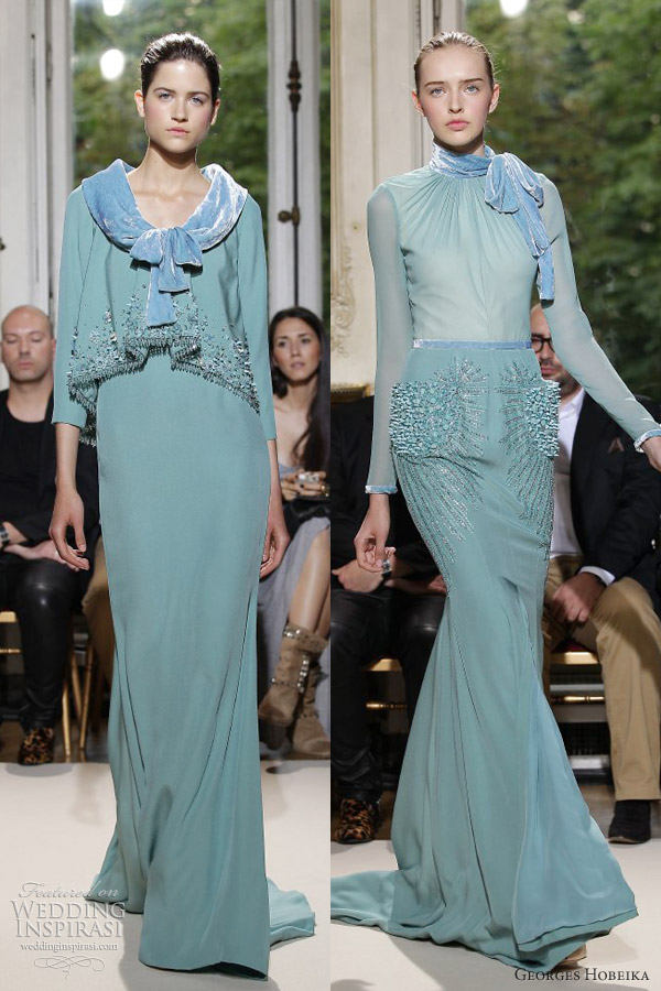 georges hobeika couture fall 2012 powder green blue gown sleeves