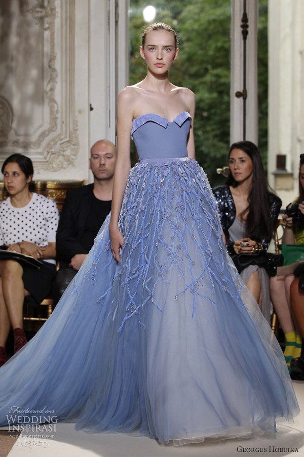 georges hobeika couture fall 2012 sky blue strapless ball gown
