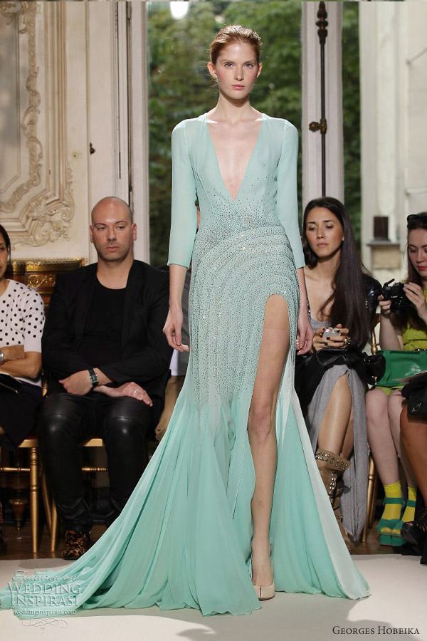 georges hobeika fall 2012 2013 couture pastel green sleeve gown slit
