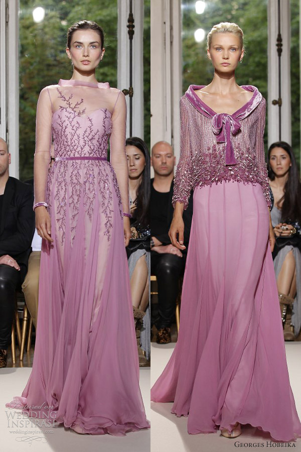 georges hobeika fall 2012 couture purple lilac lavender gowns long sleeves