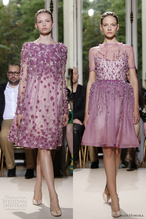 georges hobeika fall 2012 couture purple lilac lavender short dresses sleeves