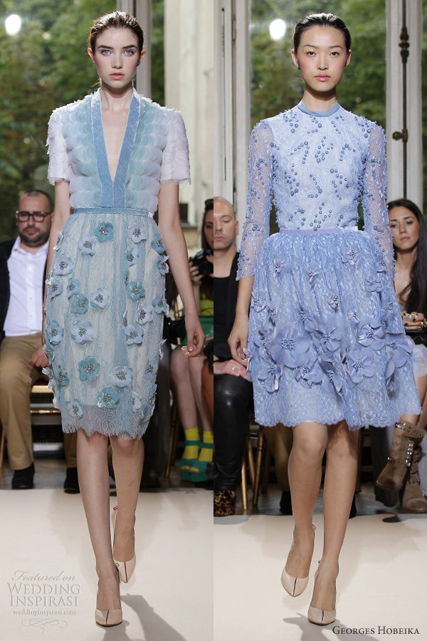 georges hobeika fall 2012 couture short pastel blue green dresses