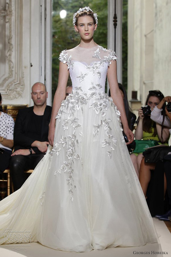 georges hobeika fall 2012 couture wedding dress cap sleeves