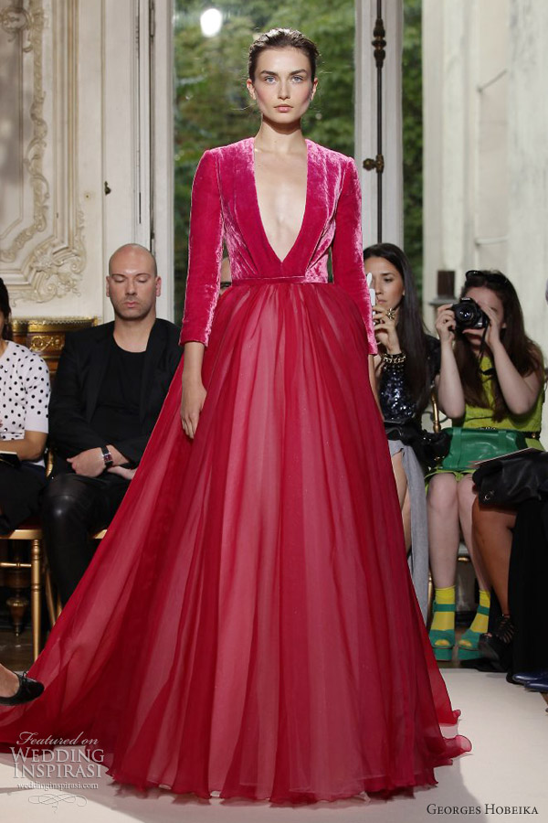 georges hobeika fall winter 2012 couture red sleeve ball gown