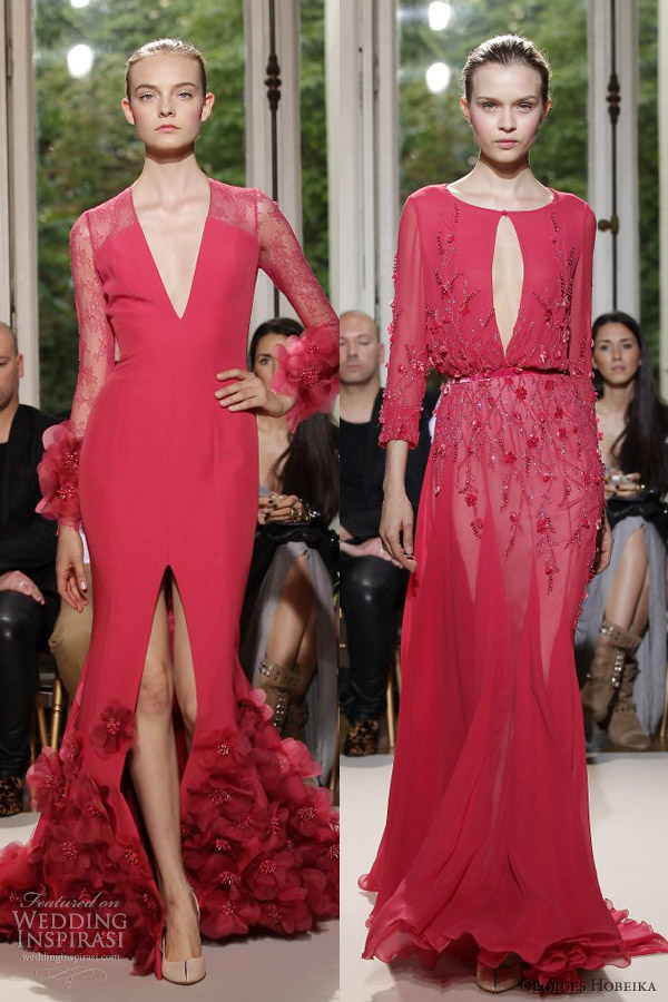 georges hobeika fall winter 2012 couture red sleeve gown