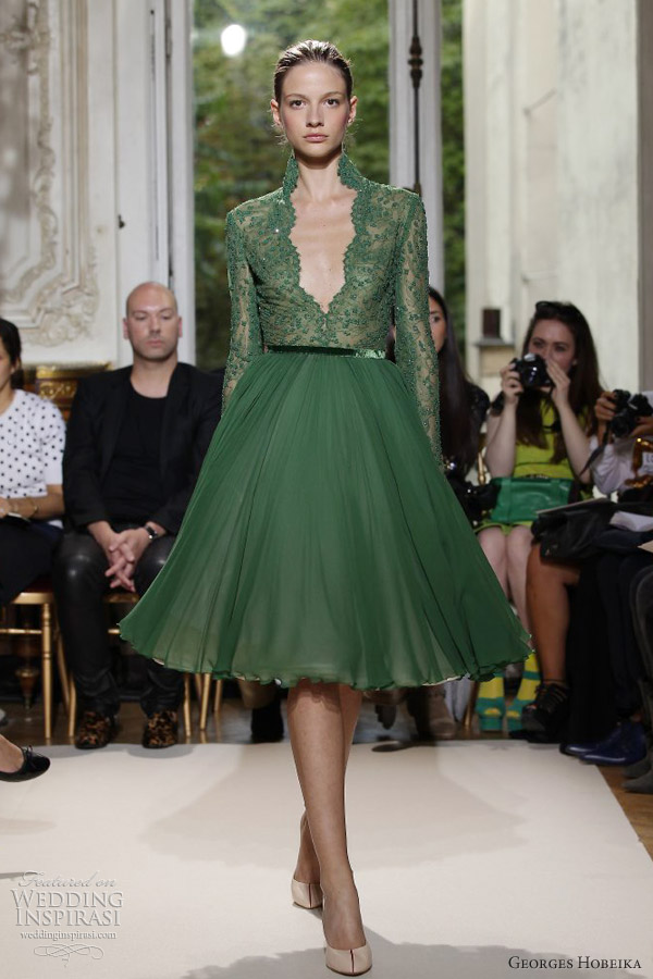georges hobeika fall winter 2012 couture short green sleeve dress