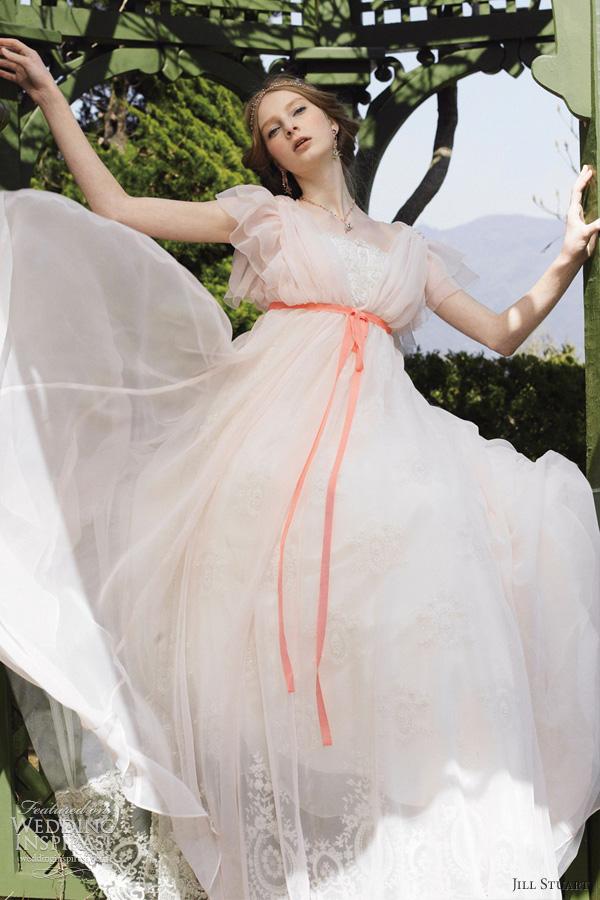 jill stuart pink wedding dress ruffle sleeves