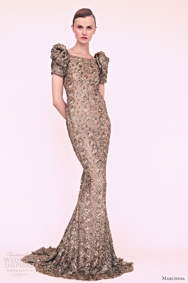 marchesa resort 2013 puff sleeve column gown