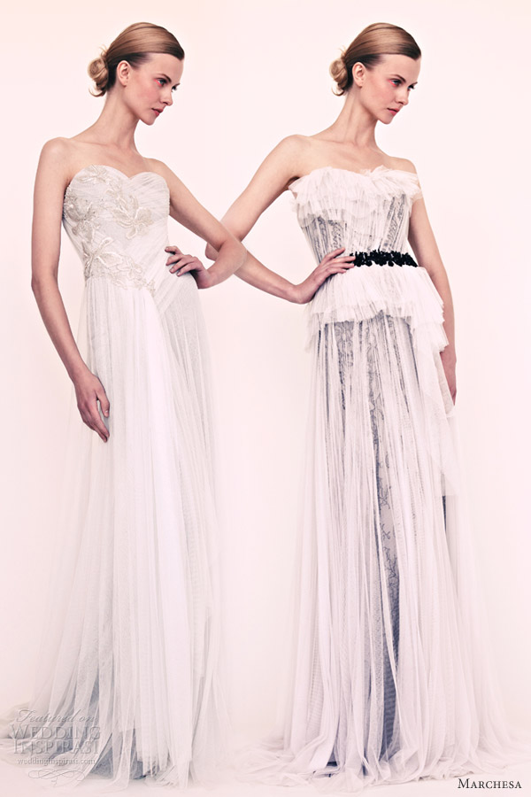 marchesa resort 2013 strapless gowns white over black