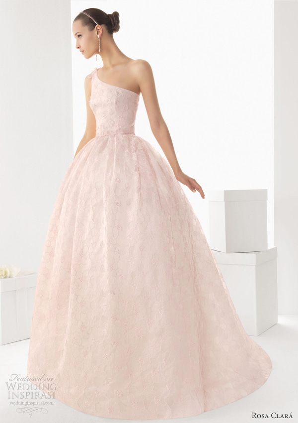 rosa clara 2013 birmania pink wedding dress one shoulder ballgown
