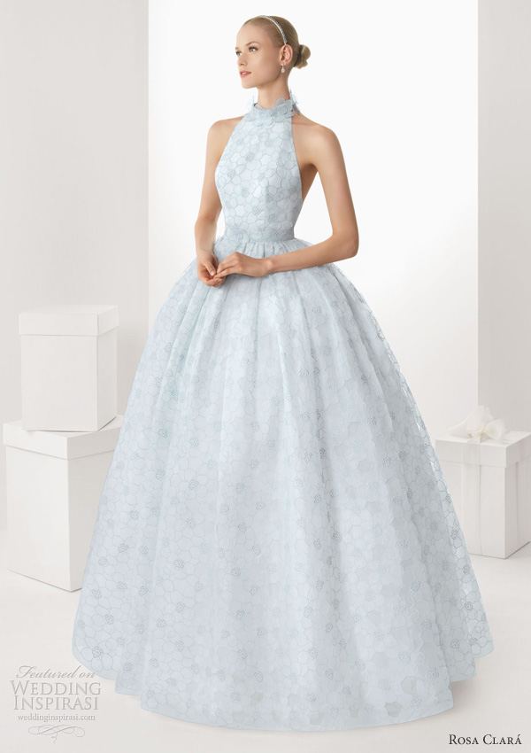 rosa clara 2013 bisel light blue wedding dress halter neck ball gown