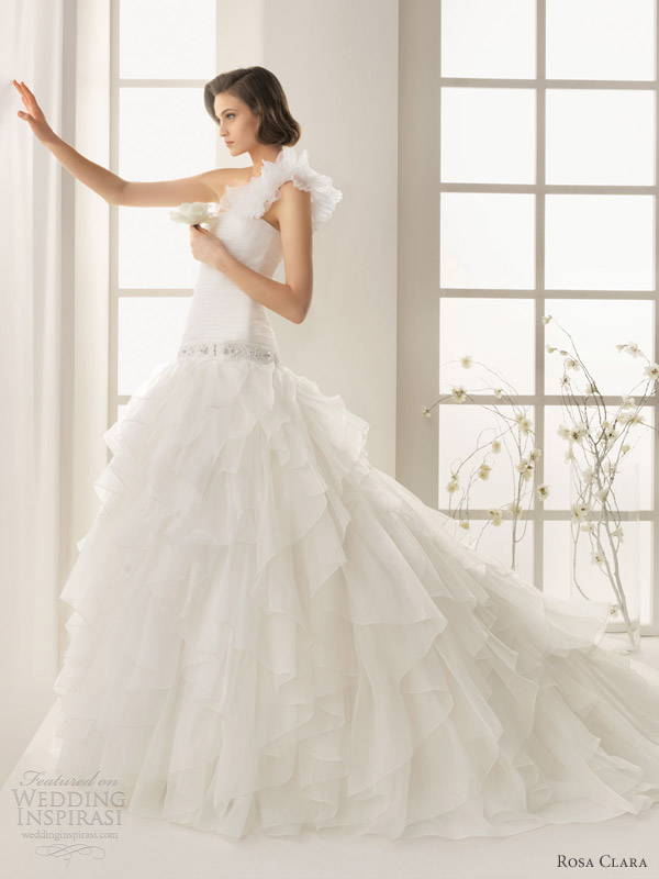 rosa clara two wedding dresses 2013 dominic one shoulder ruffle gown