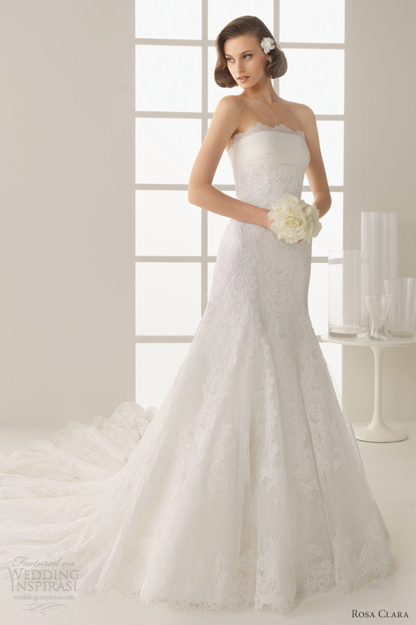 rosa clara wedding dresses 2013 two damasco strapless lace gown train