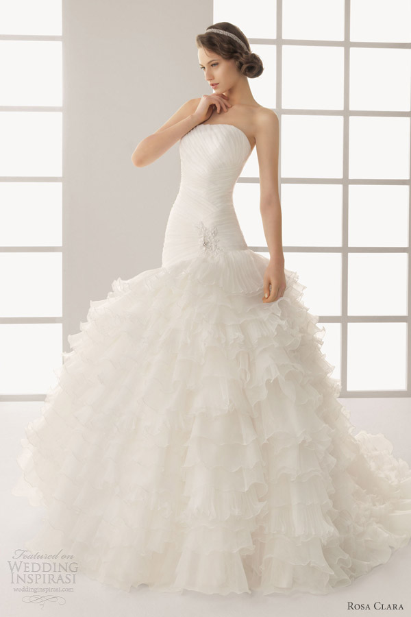 rosa clara wedding dresses 2013 two dorotea ruffle ball gown drop waist