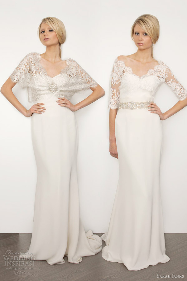 sarah janks bridal 2013 bella wedding dresses lace shrug top