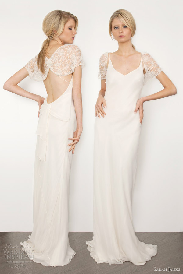 sarah janks bridal 2013 couture cassidy wedding dress with beaded lace shrug