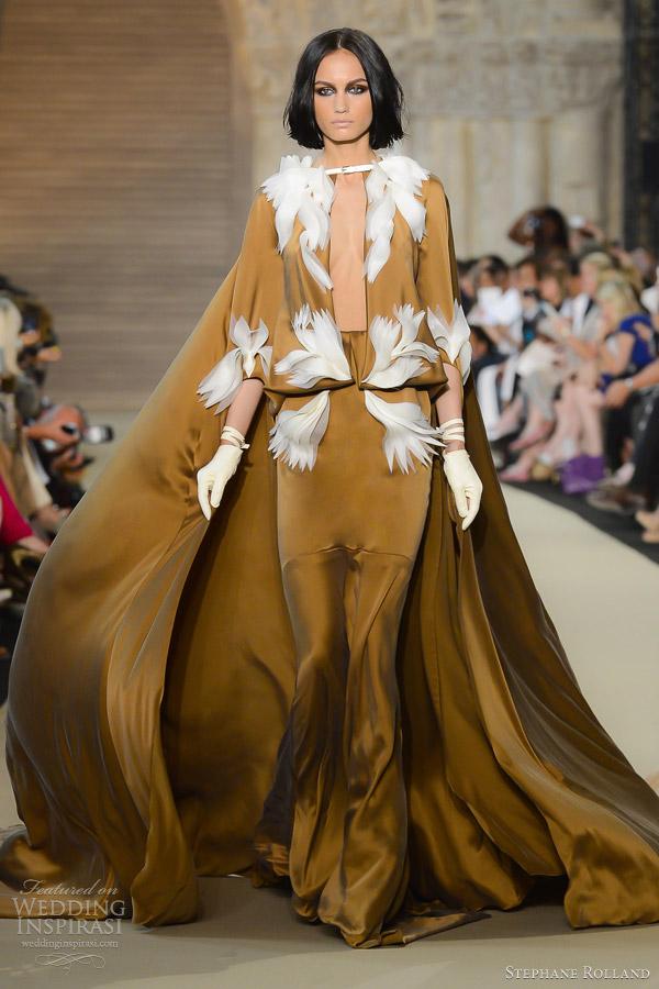 stephane rolland fall 2012 couture beige silk crepe organza dress cape
