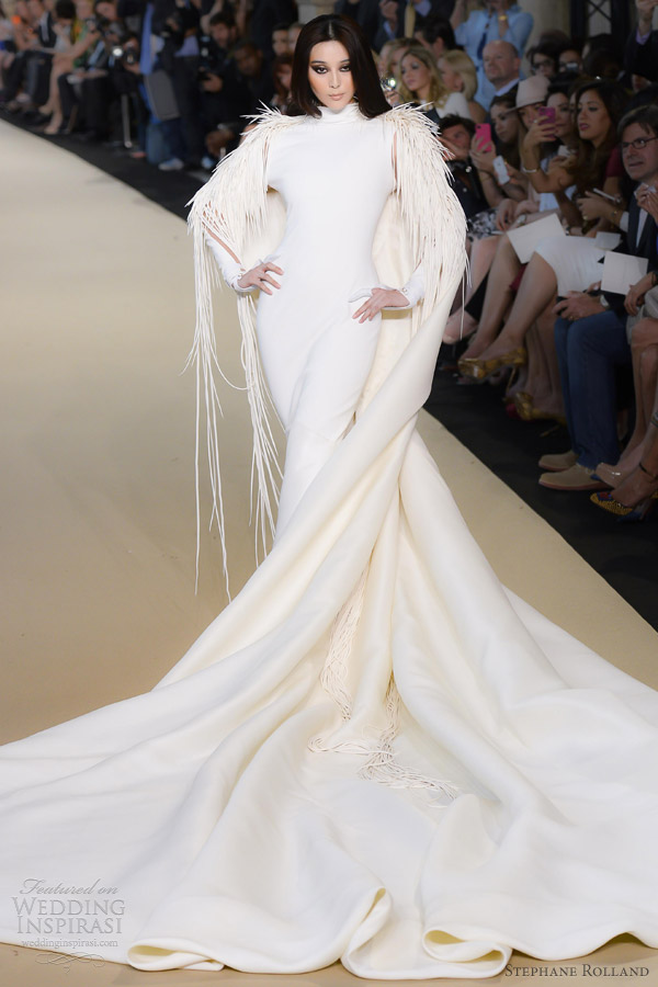 stephane rolland fall 2012 couture wedding dress with cape train