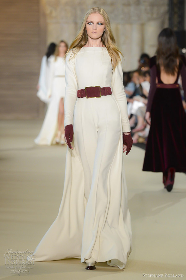 stephane rolland fall 2012 couture white double cashmere jumpsuit with matching cape