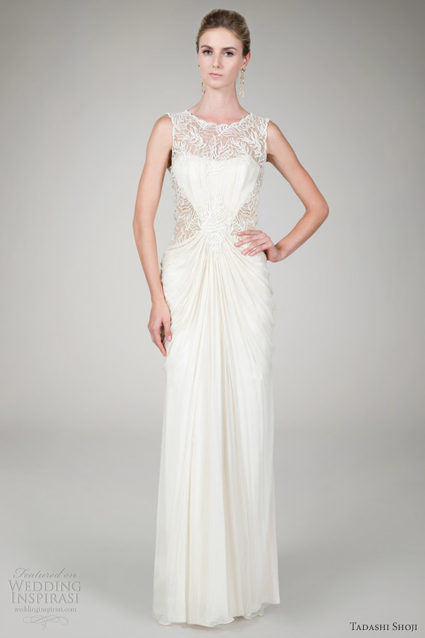 Tadashi Shoji Bridal Fall 2012 Beaded Crinkle Chiffon Gown Cream