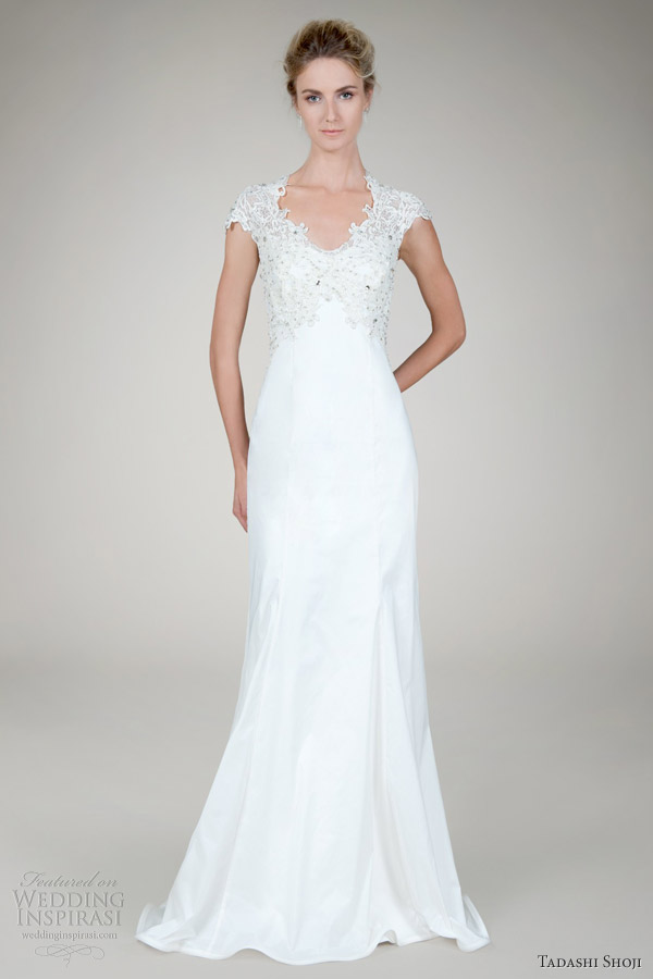 Taffeta Strapless Trumpet Wedding Dresses With Beaded Lace : Tadashi shoji wedding dresses inspirasi