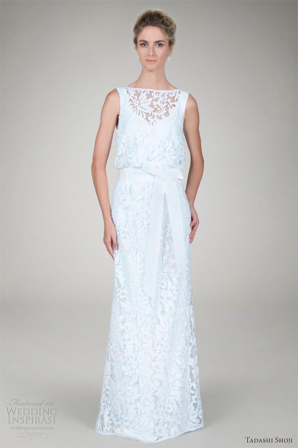 Tadashi Shoji Fall 2017 Bridal Embroidered Lace Blouson Wedding Dress