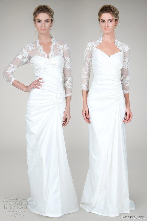 tadashi shoji wedding dresses fall 2012 long sleeve lace taffeta gowns